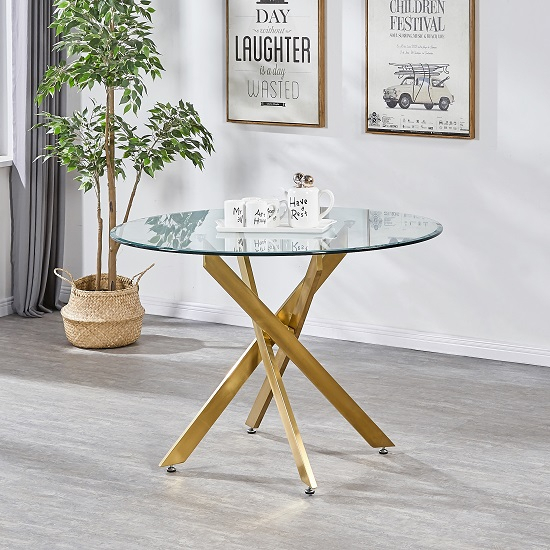 Dining Tables With Brushed Gold Stainless Finish Regarding Trendy Daytona Round Clear Glass Dining Table With Brushed Gold Legs (#8 of 20)