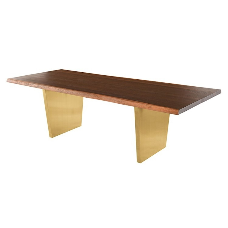 Dining Tables With Brushed Gold Stainless Finish Throughout Most Up To Date Aiden Dining Table In Seared Wood Top And Brushed Gold Legs (#9 of 20)