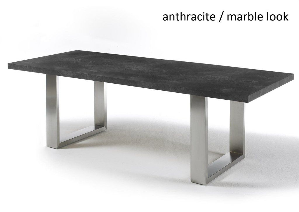 Dining Tables With Brushed Stainless Steel Frame Intended For Preferred Instrument Black Stone Dining Table (d100 X H77 Cm) The Base (View 3 of 20)