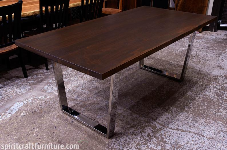 Dining Tables With Stained Ash Walnut With 2019 A Custom Dark Stained Slab Walnut Dining Table W/ Welded Stainless Steel Trapezoid Legs – Kiln Dried Hardwood Handcrafted Heirloom Quality (View 7 of 20)