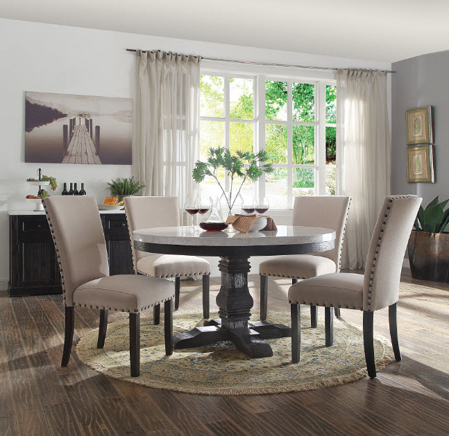 Dining Tables With White Marble Top For Preferred Nolan Round White Marble Top Dining Table (#3 of 20)