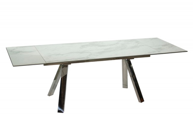 Dining Tables With White Marble Top Inside Well Known Cantania – 160Cm Extending Dining Table With White Marble Ceramic Top (#4 of 20)