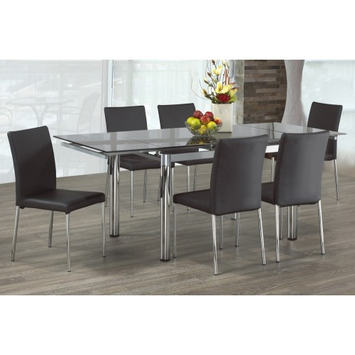 Distressed Walnut And Black Finish Wood Modern Country Dining Tables Pertaining To Favorite Clear Glass Modern Extendable Dining Table With Chrome Finish Metal Pillar Legs (View 17 of 20)