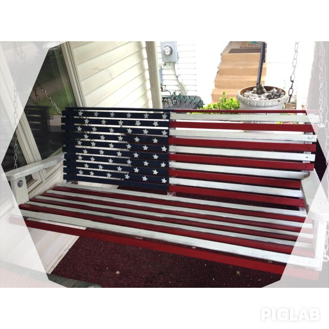 Inspiration about Diy American Flag Porch Swing.   Patriotic Red White & Blue Intended For American Flag Porch Swings (#1 of 20)