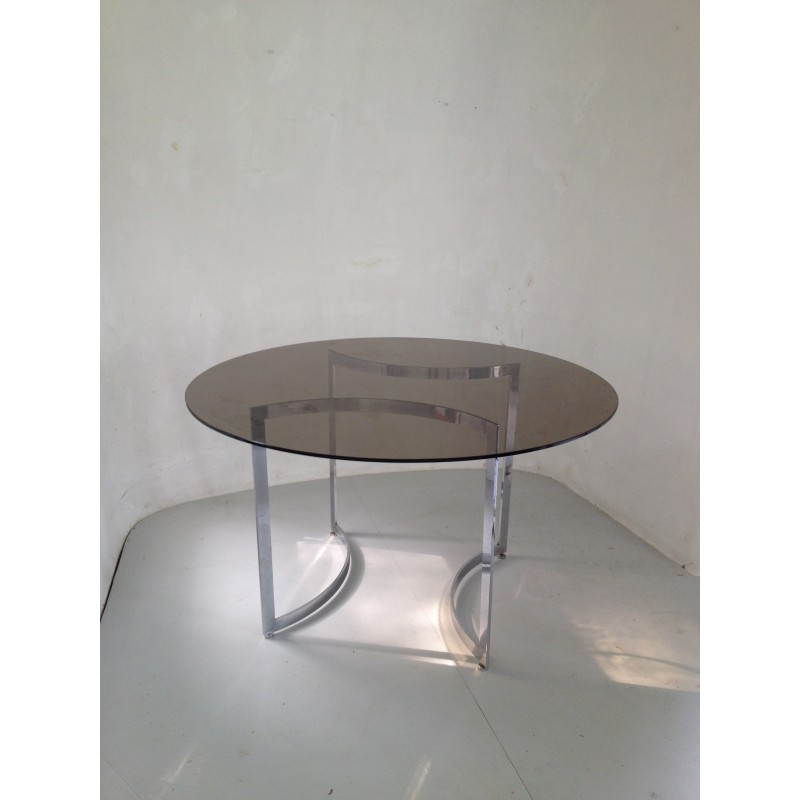 Dom Round Dining Table In Hardened Glass And Steel, Paul Legeard – 1970S For Most Popular Dom Round Dining Tables (#6 of 20)