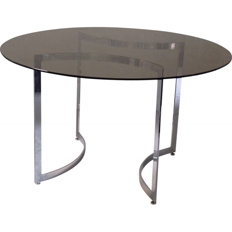 Dom Round Dining Tables Throughout Preferred Dom Round Dining Table In Hardened Glass And Steel, Paul Legeard – 1970S (#9 of 20)