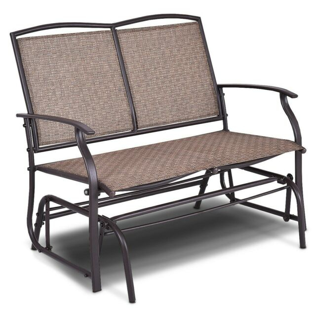 Inspiration about Double 2 Person Outdoor Patio Porch Swing Glider Loveseat Bench Rocking Chair Regarding Outdoor Patio Swing Porch Rocker Glider Benches Loveseat Garden Seat Steel (#3 of 20)