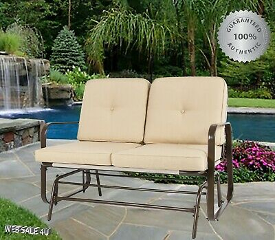 Double 2 Person Patio And Porch Glider Chairs Swings With In 2 Person Loveseat Chair Patio Porch Swings With Rocker (View 18 of 20)
