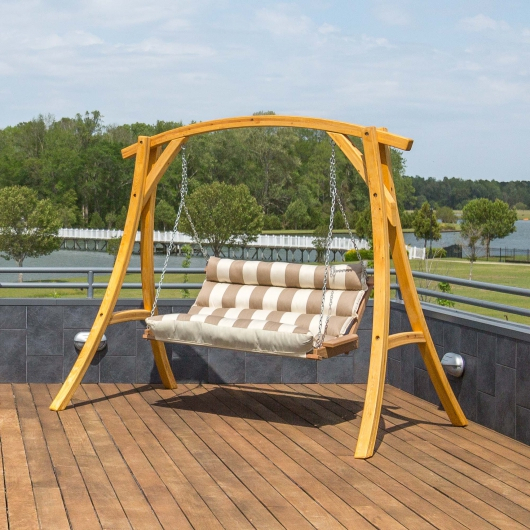 Double Cushioned Porch Swing – Regency Sand Pertaining To Porch Swings (#8 of 20)