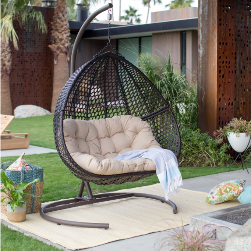Double Hanging Egg Chair Stand And Cushion 2 Person Outdoor Swing Love Seat Inside Patio Loveseat Canopy Hammock Porch Swings With Stand (View 13 of 20)