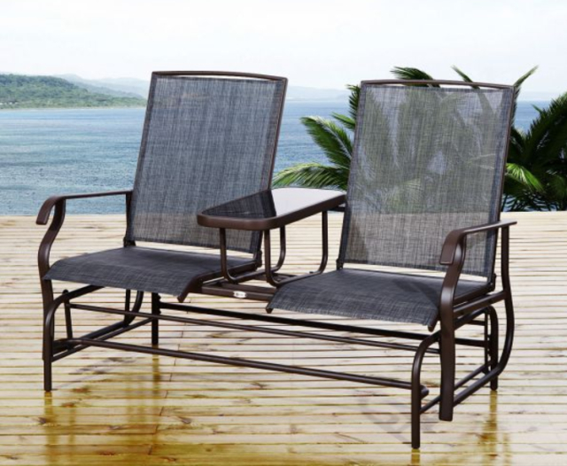Inspiration about Double Steel Patio Glider Chair W/ Table 2 Person Outdoor Mesh Fabric Bench New Throughout Outdoor Fabric Glider Benches (#13 of 20)