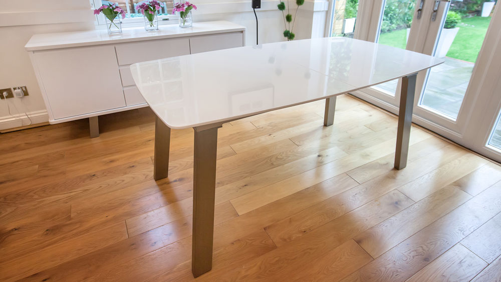 Eames Style Dining Tables With Wooden Legs Inside Most Recently Released Assi White Gloss Extending And Eames Style Dining Set (#3 of 20)