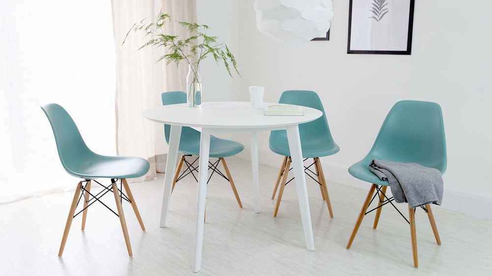 Eames Style Dining Tables With Wooden Legs Pertaining To Most Recently Released Terni Round White And Eames Style Dining Set (#5 of 20)