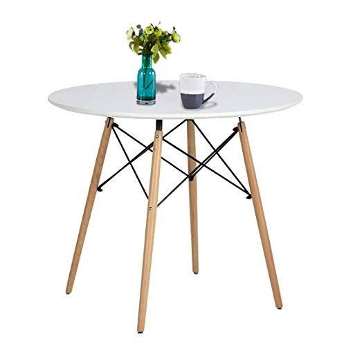 Eames Style Dining Tables With Wooden Legs Within Recent Alovhad Kitchen Dining Table Round White Coffee Table Mid (#8 of 20)