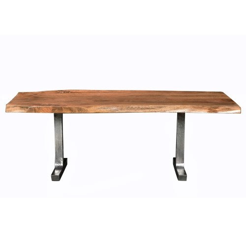 Earth Dining Table L 84 X W 35 38 X H 30, Acacia Wood Top With Iron Legs On Raw Metal With Regard To Most Recently Released Acacia Wood Top Dining Tables With Iron Legs On Raw Metal (View 2 of 20)
