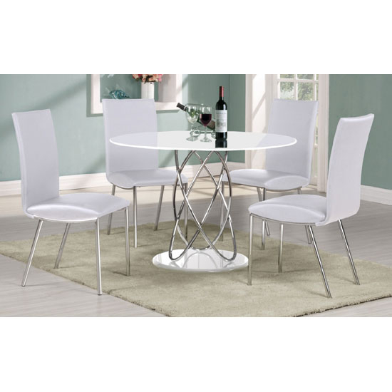 Eclipse Dining Tables Intended For Favorite Eclipse White High Gloss Finish Dining Table And 4 Dining Chairs (#10 of 20)