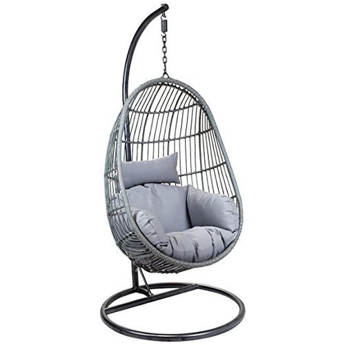 Egg Shaped Chair Swing Regarding 1 Person Antique Black Iron Outdoor Swings (#5 of 20)