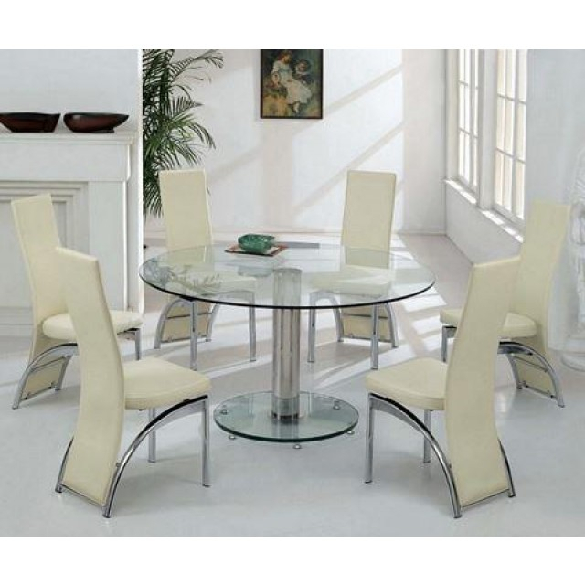 Elegance Large Round Dining Tables Regarding Favorite Elegant Large Round Glass Dining Table And Chair Clearance (#6 of 20)