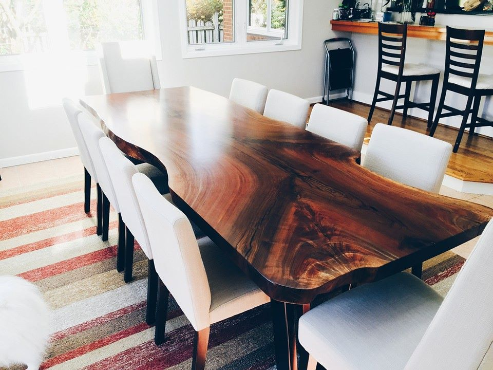 Elpis&wood Within Trendy Walnut Finish Live Edge Wood Contemporary Dining Tables (#3 of 20)