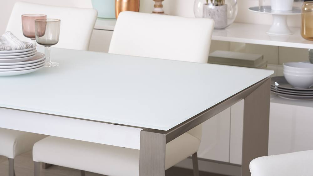 Eve Frosted Glass Extending Dining Table In White And Brushed Throughout 2020 Modern Glass Top Extension Dining Tables In Stainless (#7 of 20)