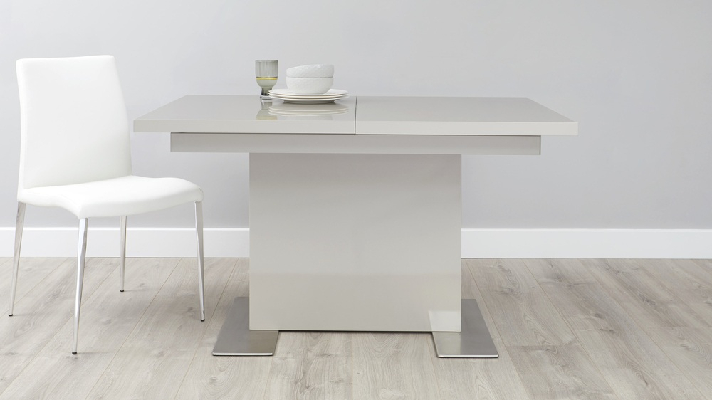 Extension Dining Tables Inside Current Sanza Small Extending Grey Gloss Dining Table (#5 of 20)