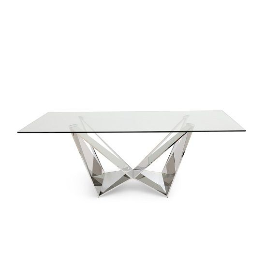 Famous Steel And Glass Rectangle Dining Tables For Diego Glass Dining Table In Clear With Stainless Steel Base (View 6 of 20)