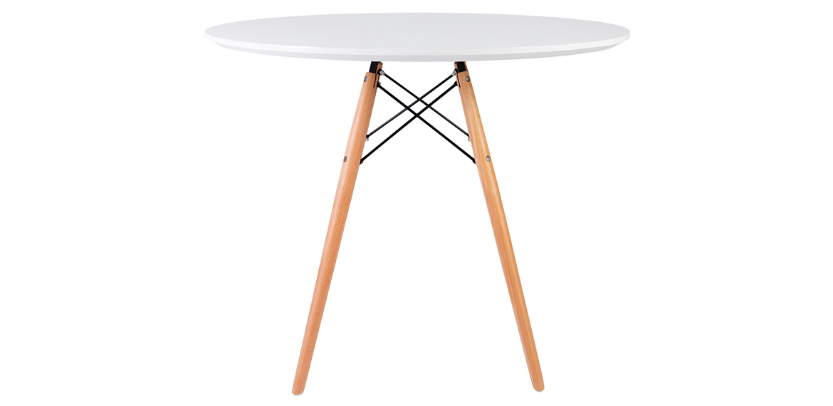 Fashionable Eames Style Dining Tables With Wooden Legs Intended For Charles & Ray Eames Style White Round Dining Table Natural Legs – 90 Cm (#11 of 20)