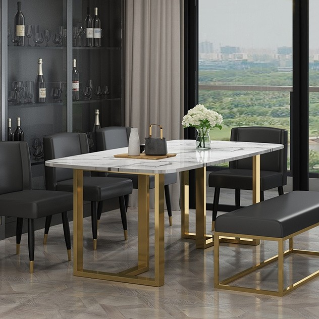 Fashionable Modern Elegant Dining Table With Faux Marble Top & Metal Legs Single Piece  Rectangular Kitchen Table Small/medium/large In Gold Within Medium Elegant Dining Tables (#6 of 20)