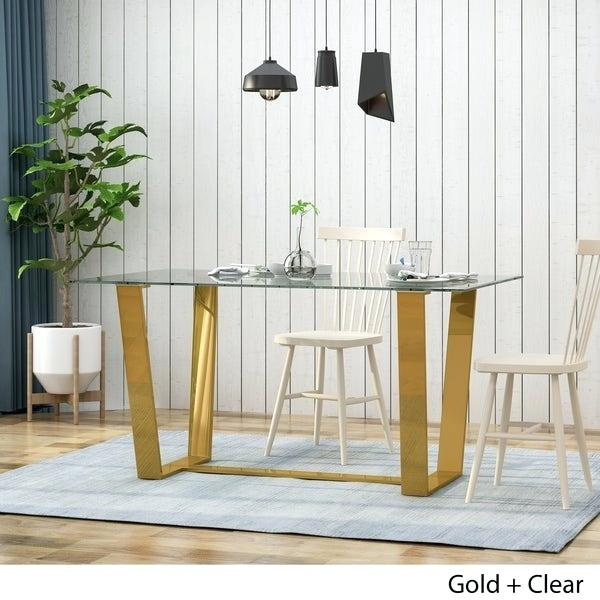 Fashionable Modern Gold Dining Tables With Clear Glass With Modern Dining Table Glass – Wordtypes (#4 of 21)