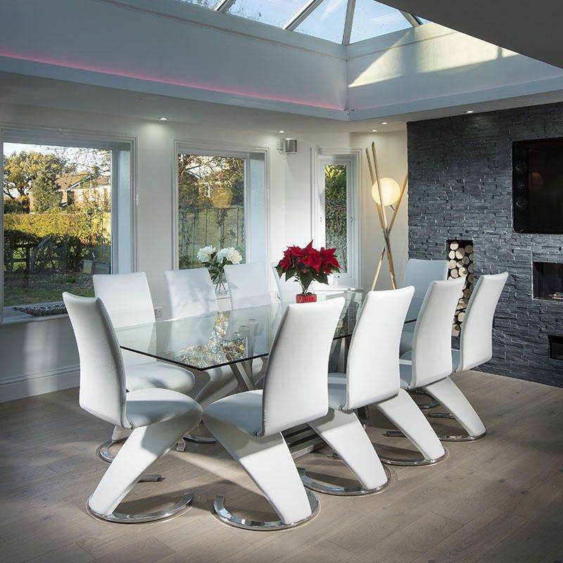 Fashionable Modern Large 10 Seater Glass Stainless Steel Dining Table In Modern Glass Top Extension Dining Tables In Stainless (#10 of 20)