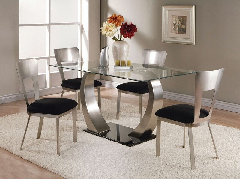 Fashionable Rectangular Glass Top Dining Tables For Acme 10090 93 5 Pc Camille Satin Metal Arched Base (#8 of 20)