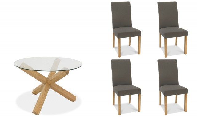 Fashionable Round Glass Top Dining Tables With Zephyr – 120Cm Round Glass Top Dining Table & 4 Square Back Dining Chairs In Titanium Fabric (View 10 of 20)