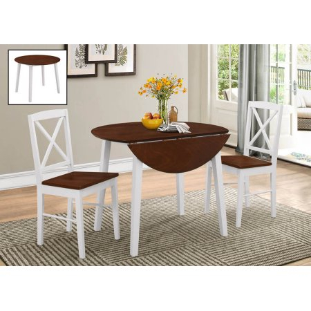 Fashionable Transitional 3 Piece Drop Leaf Casual Dining Tables Set Regarding Gaines 3 Piece Cherry & White Wood 39 Inch Round (View 6 of 20)