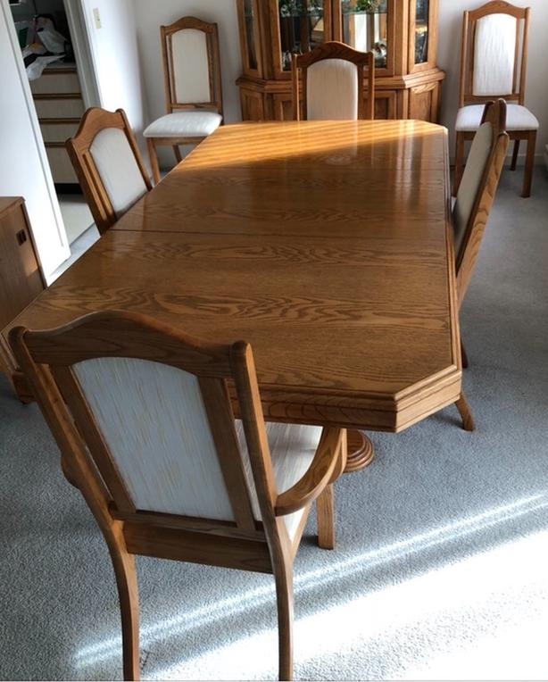 Fashionable Wood Kitchen Dining Tables With Removable Center Leaf Throughout $275 · Moving! Dining Table, 6 Chairs (View 18 of 20)