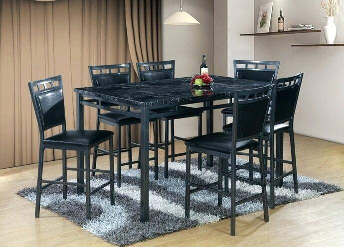 Faux Marble Finish Metal Contemporary Dining Tables Inside Newest Black Marble Top Counter Height Dining Set Finish Metal (#7 of 20)