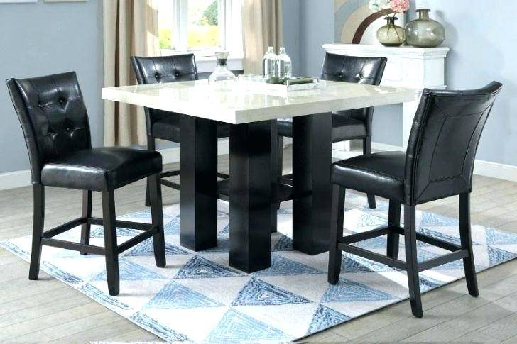 Faux Marble Finish Metal Contemporary Dining Tables Pertaining To Well Known Pretty Black Marble Top Counter Height Dining Set Kitchen (#8 of 20)