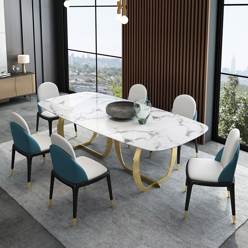 "Faux Marble Finish Metal Contemporary Dining Tables With Preferred Contemporary Luxury 63"" / 71"" Rectangular Faux Marble Dining Table Metal  Base In Gold (#9 of 20)"