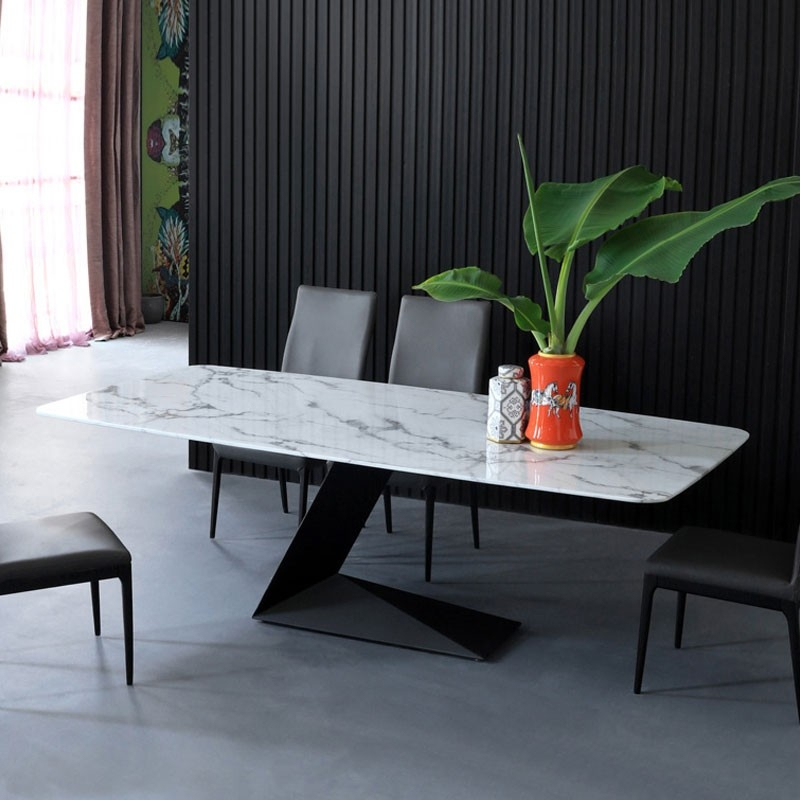 "Faux Marble Finish Metal Contemporary Dining Tables Within Most Recently Released Modern Rectangular 63"" White Faux Marble Dining Table With L Shaped Base In  Black Finish (#10 of 20)"