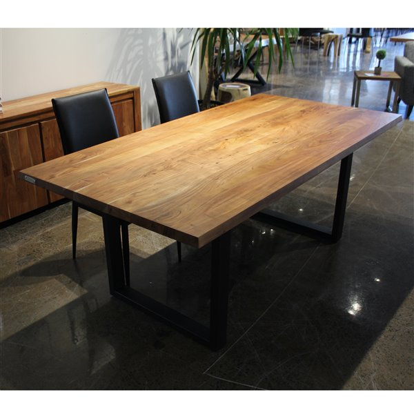 Favorite Acacia Dining Tables With Black Rocket Legs Inside Corcoran Acacia Dining Table – 80 In – Black Metal U Legs (View 10 of 20)