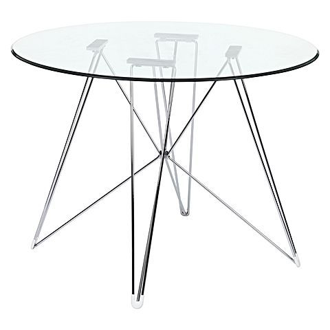 Popular Photo of Eames Style Dining Tables With Chromed Leg And Tempered Glass Top