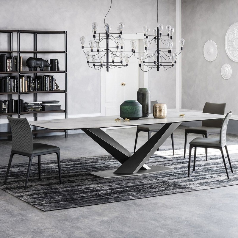 "Favorite Faux Marble Finish Metal Contemporary Dining Tables Throughout Modern Rectangular 63"" / 71"" / 79"" Faux Marble Dining Table Black Metal  X Base White Marble Dining Table (#11 of 20)"