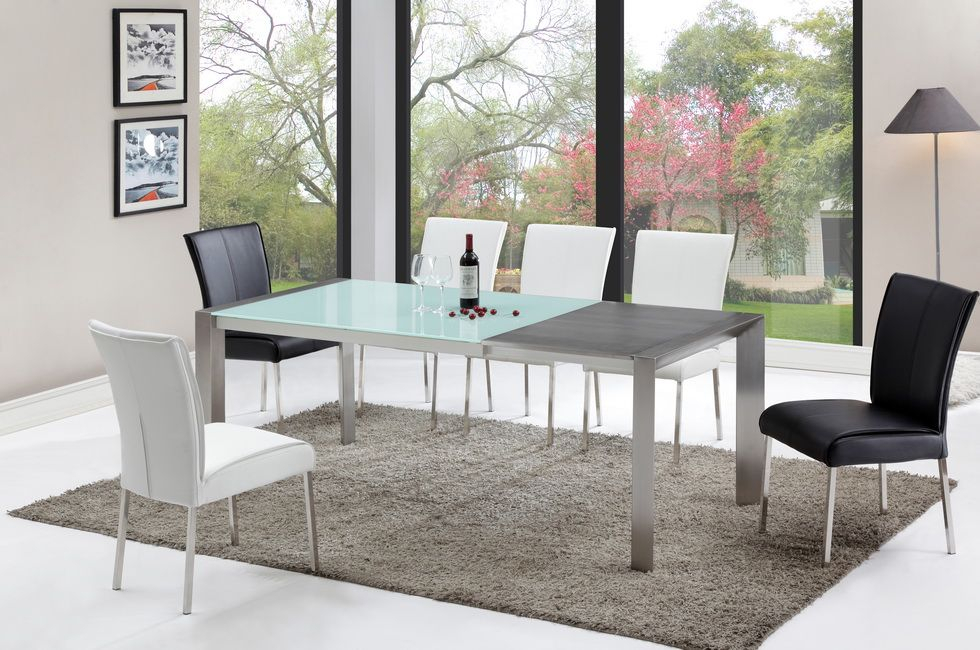 Favorite Modern Tempered Glass Top Dining Table With Stainless Steel Pertaining To Modern Glass Top Extension Dining Tables In Stainless (#12 of 20)