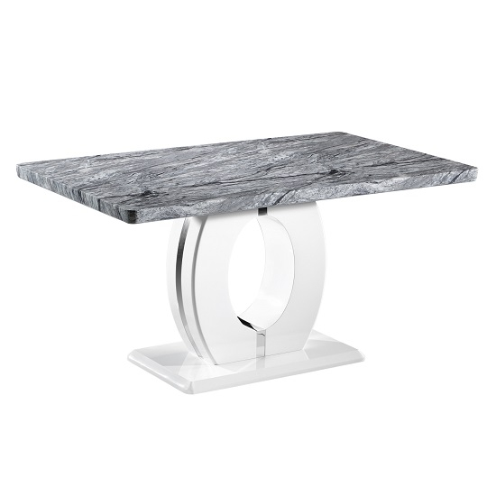 Favorite Neville Marble Effect Gloss Medium Dining Table With White Base With Medium Dining Tables (View 20 of 20)