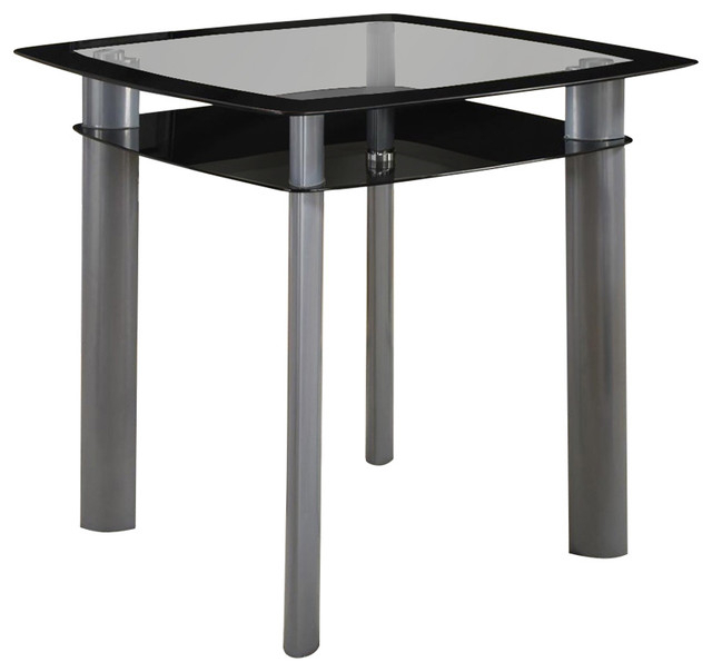 Favorite Square Glass Top Counter Height Dining Table With Metal Legs Black And  Silver Inside Frosted Glass Modern Dining Tables With Grey Finish Metal Tapered Legs (#7 of 20)