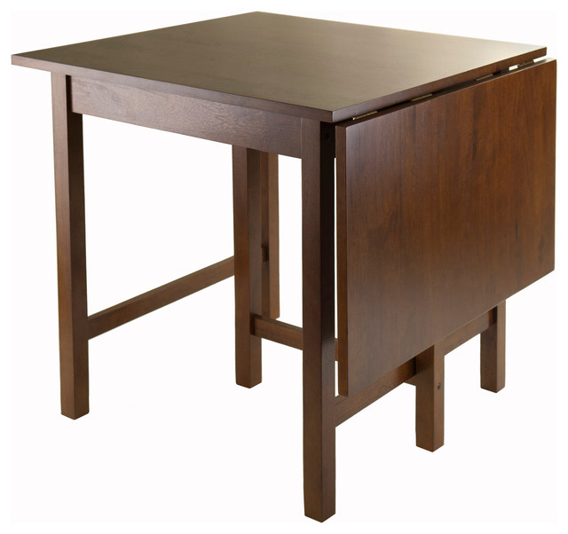 Favorite Transitional Antique Walnut Square Casual Dining Tables Regarding Winsome Lynden Drop Leaf Dining Table In Antique Walnut (View 2 of 20)