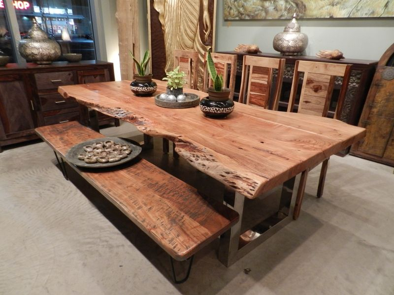Favorite Unique Acacia Wood Dining Tables Regarding Freeform Dining Table In Acacia Wood With Chrome Legs (View 11 of 20)