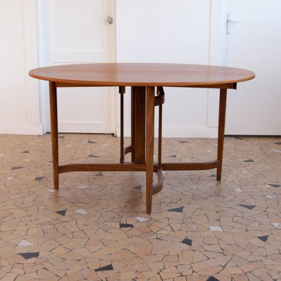 Favorite Wood Top Dining Tables Pertaining To Mid Century Teak Oval Flip Top Dining Table, 1960S (#4 of 20)
