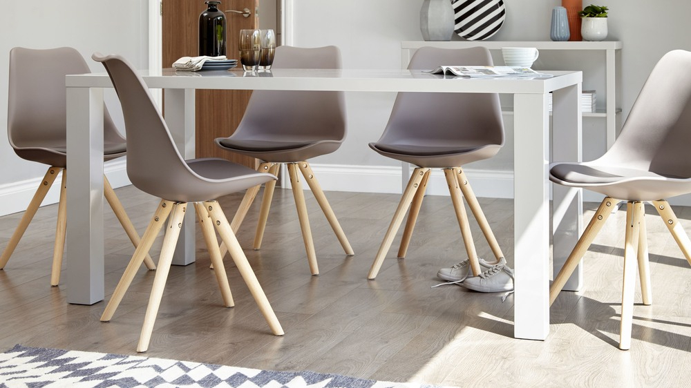 Fern Grey Gloss 6 Seater Dining Table Pertaining To Most Popular Contemporary 6 Seating Rectangular Dining Tables (#12 of 20)
