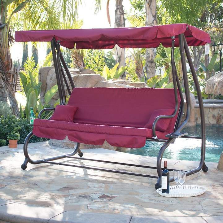Fleur De Lis Living Mossley Canopy Porch Swing With Stand In Regarding Outdoor Canopy Hammock Porch Swings With Stand (View 13 of 20)