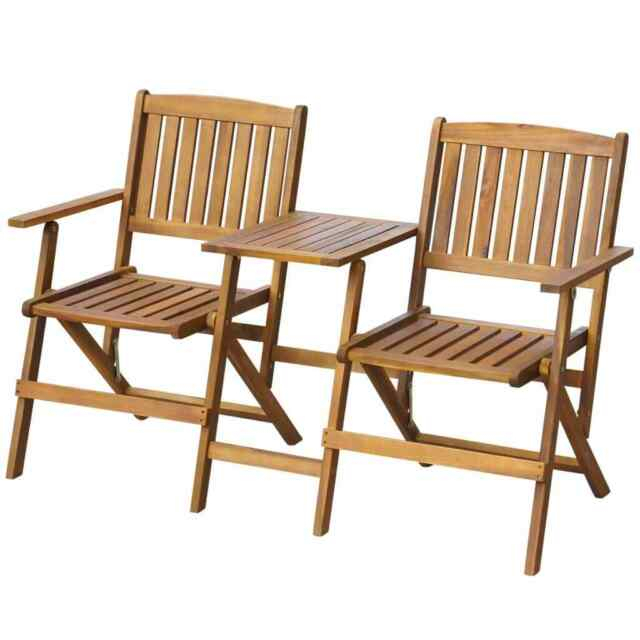 Folding Garden Love Seat Wooden Bench 2 Seater Patio Twin Chair With Table New In Twin Seat Glider Benches (View 16 of 20)